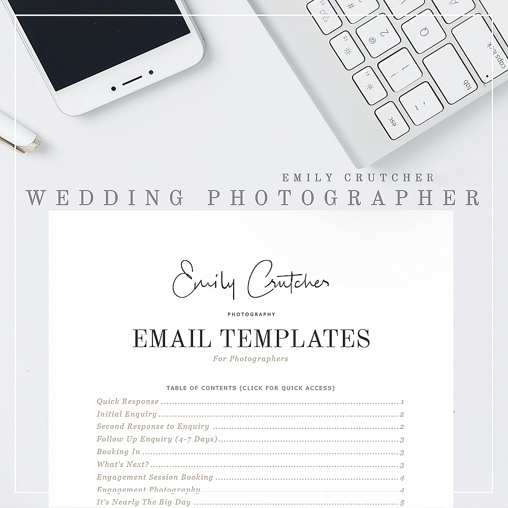 wedding photographer email templates clients