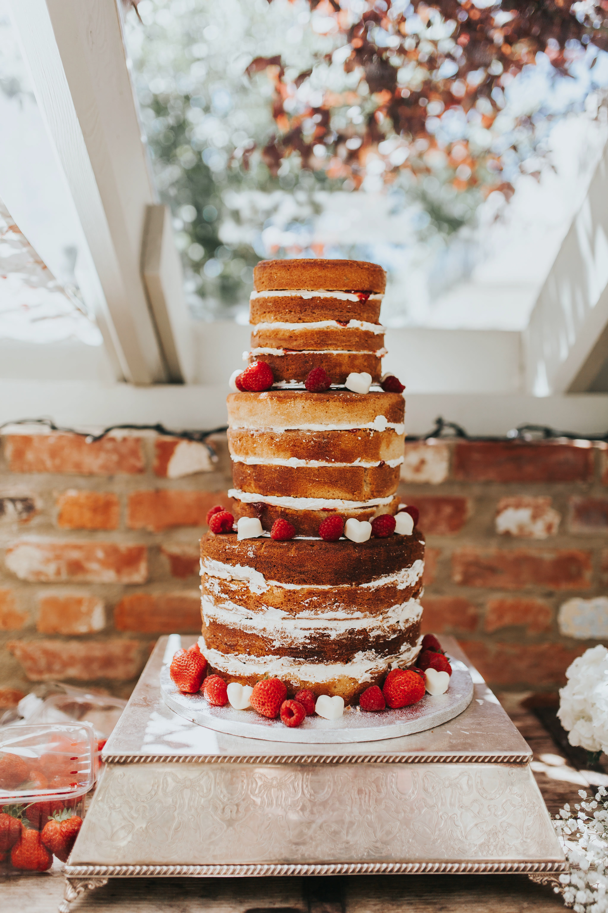 naked wedding cakes strawberries raspberries chocolate hearts wedding cake ideas