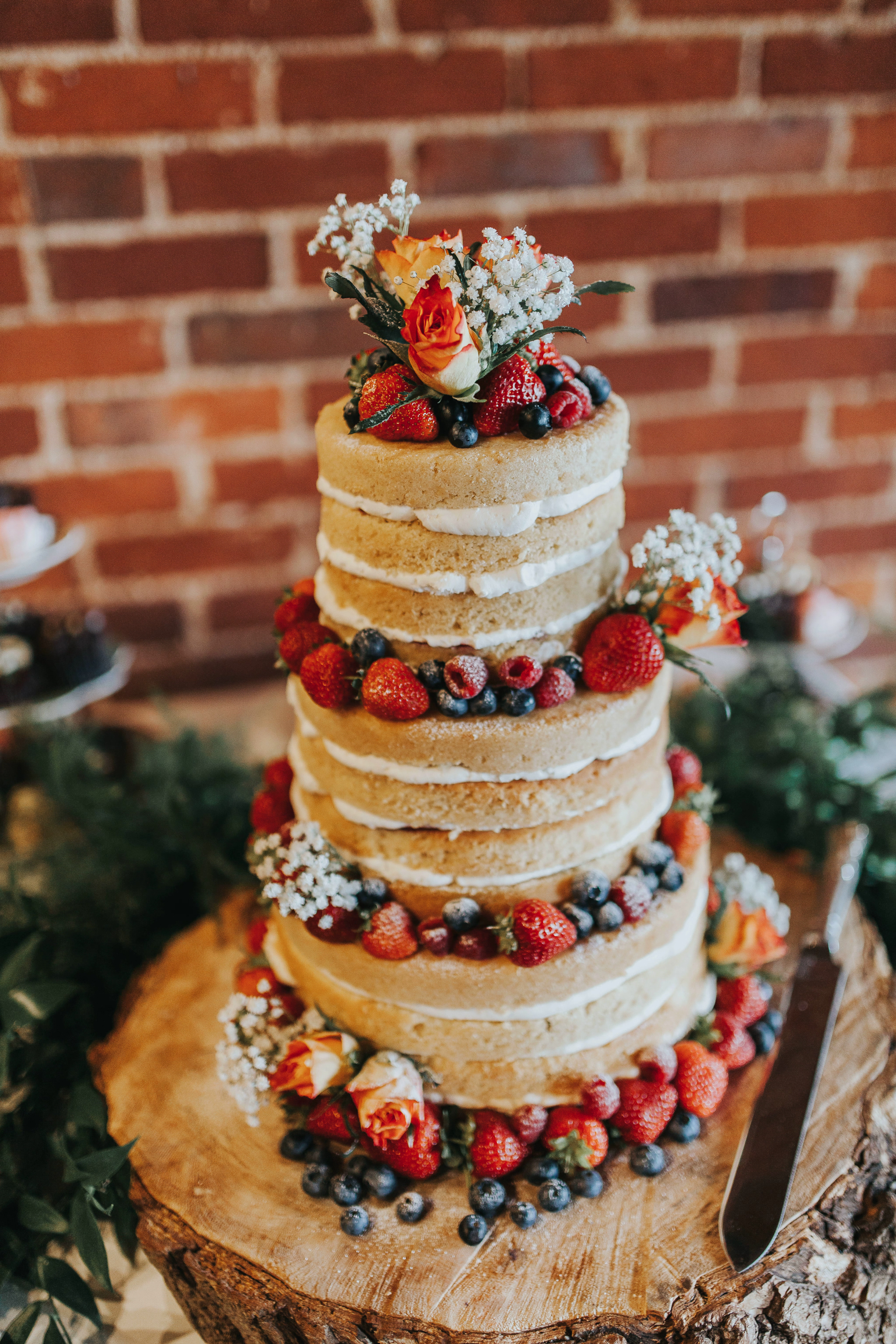 summer berries naked wedding cakes roses strawberry blueberry rustic cake