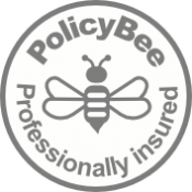 White Grey PolicyBee Badge
