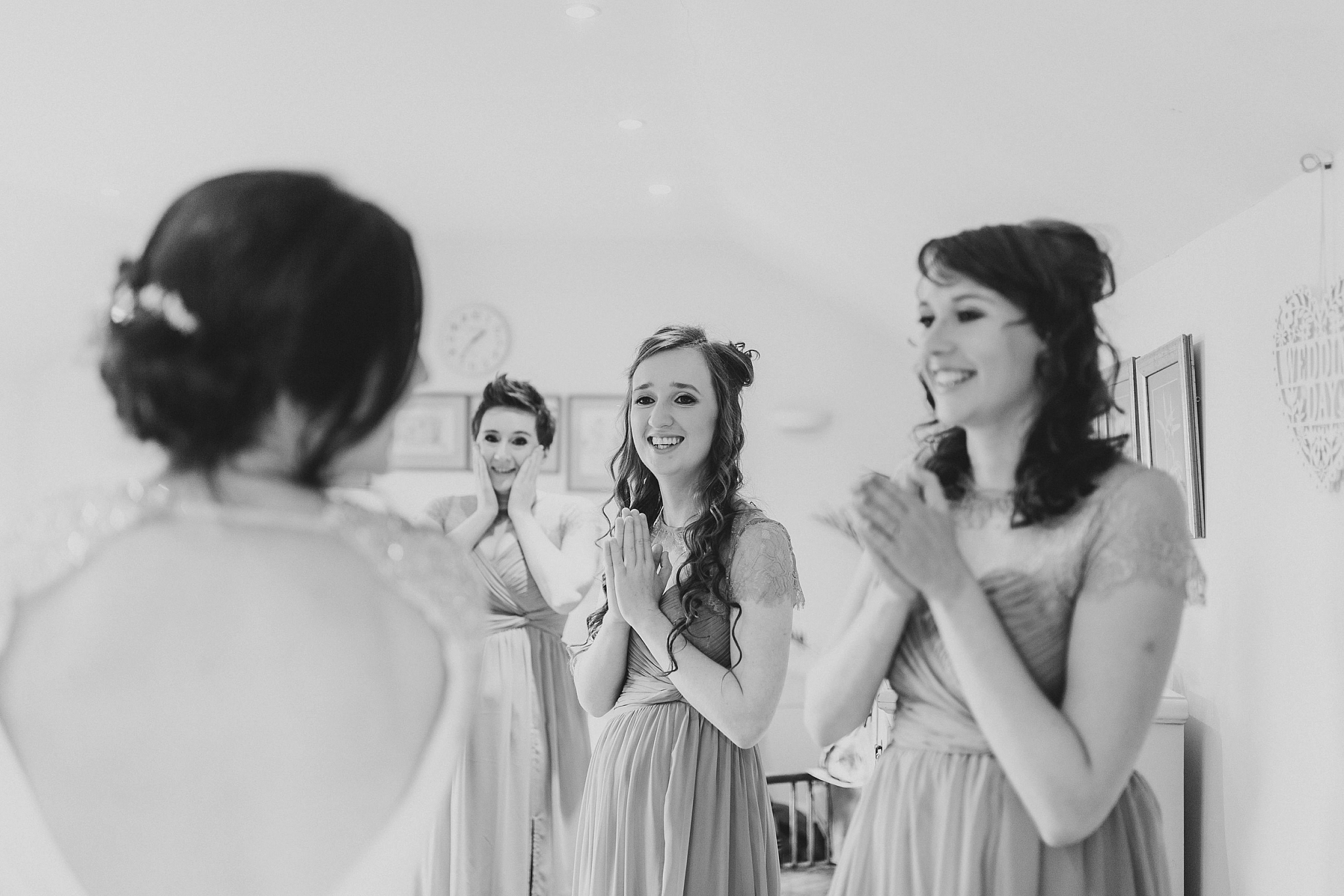 Bridesmaids see bride reaction first time