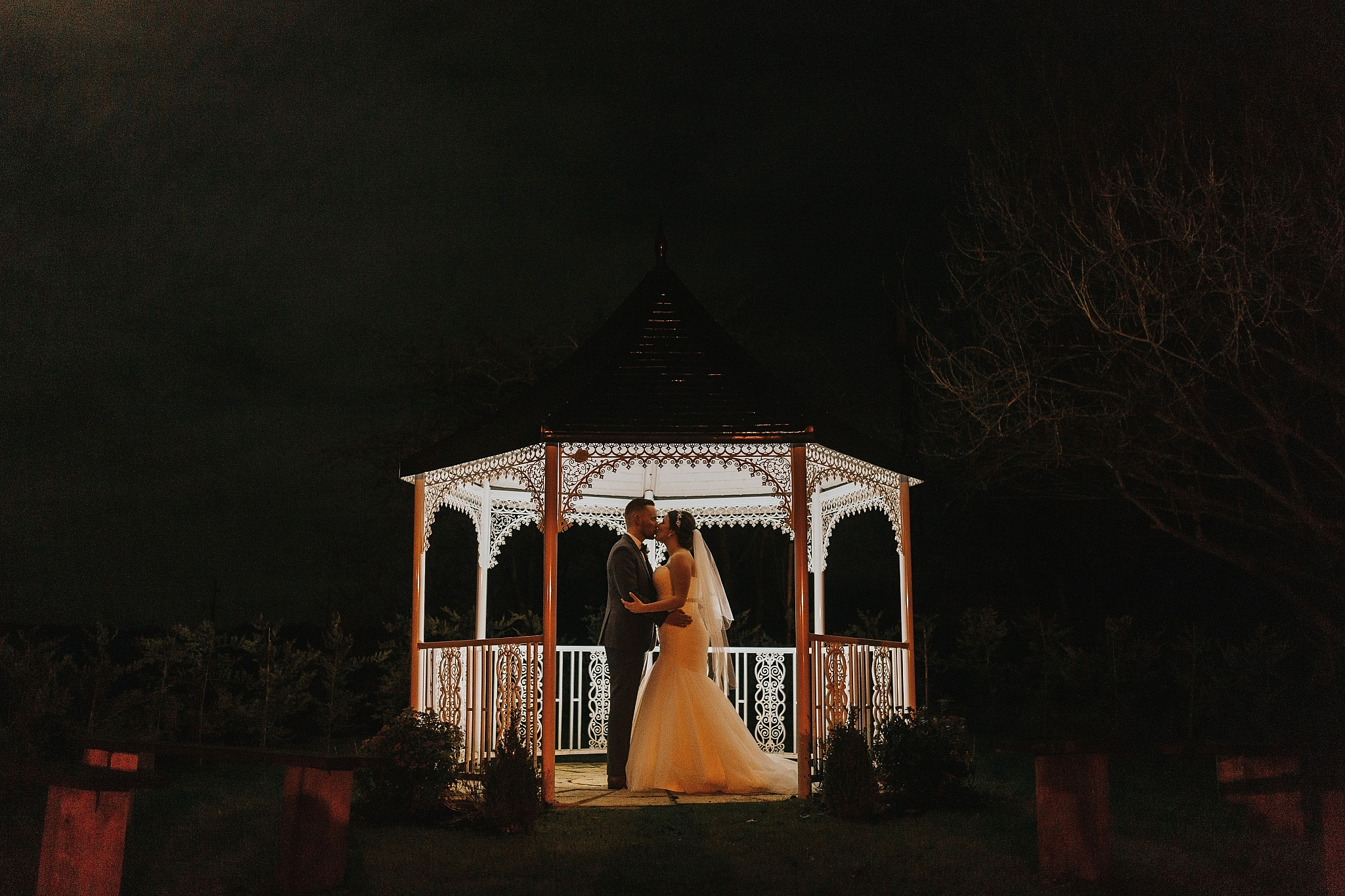 wedding photography gazebo night