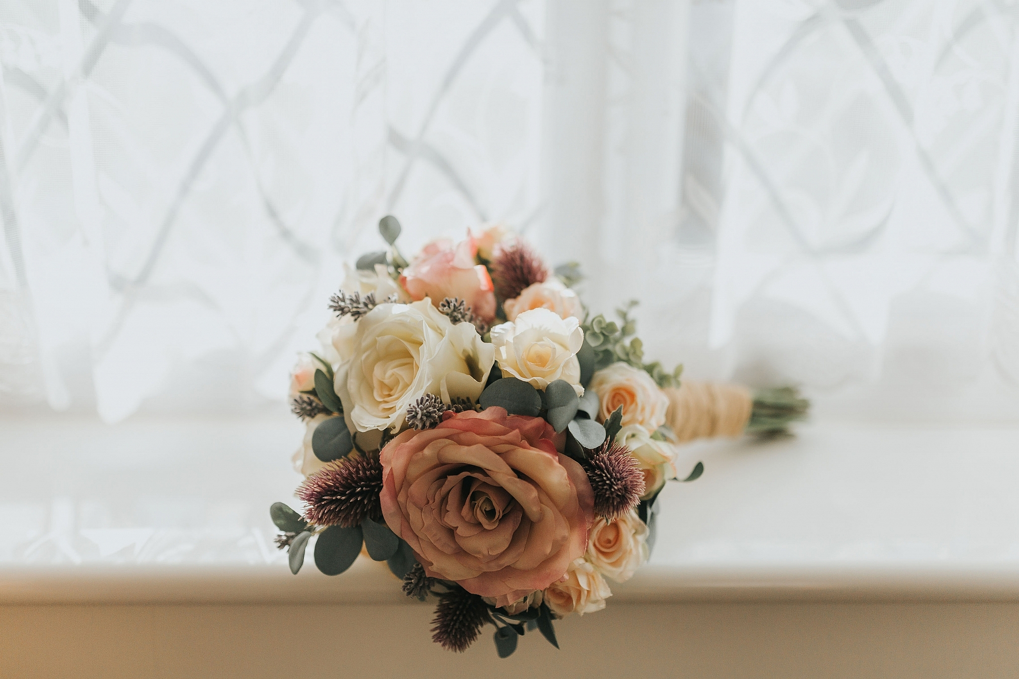 wedding flowers bouquet autumn blush pink