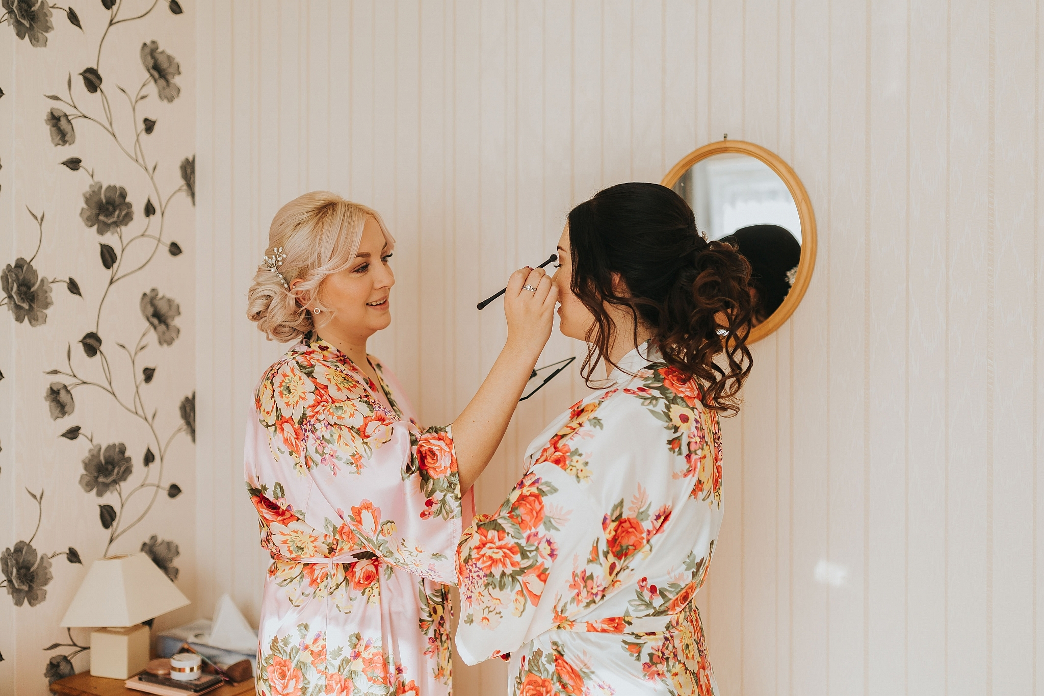 bridesmaid does brides makeup
