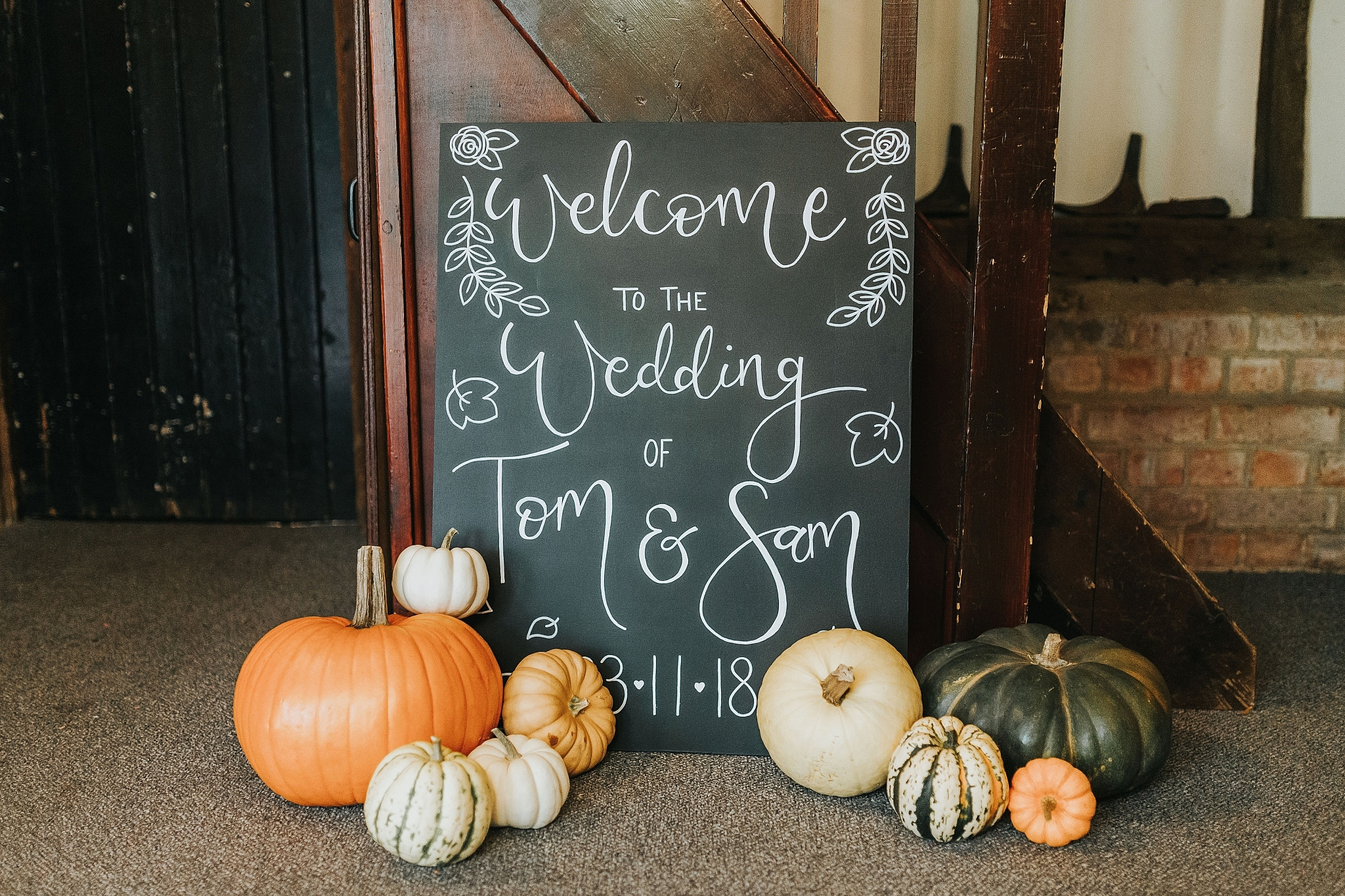 autumn wedding sign chalkboard pumpkin wedding