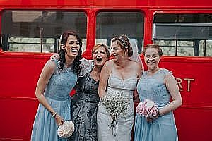 Jennifer & James' Bromley Wedding Photography with a London Bus!